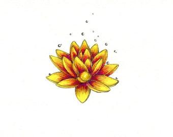 Geometric lotus flower print flower art print geometric wall lotus flower art print of an original drawing available 5x7 or mightylinksfo Gallery