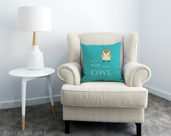 Woodland nursery decor, Grow wise little owl throw pillow / cushion. Owl nursery. Quality printed soft fabric cushion with zipper by WallFry