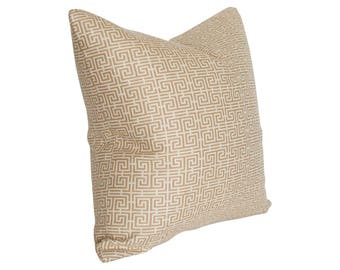 Chinois Fret Camel and Cream Schumacher Designer Pillow Cover - Custom Made-to-Order - Greek Key Small Pattern
