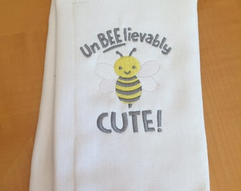 BEE Burp Cloth, Baby Gift, Personalized Burp Cloth