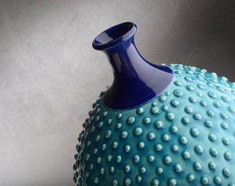 Bottle Vase Ready To Ship Caribbean Blue Dottie Vase by Symmetrical Pottery