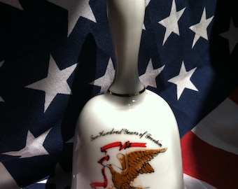 Vintage 1976 Bicentennial Bell, Two Hundred Years of Freedom, USA Historical Patriotic 200th Anniversary Porcelain Collectible Gift Idea