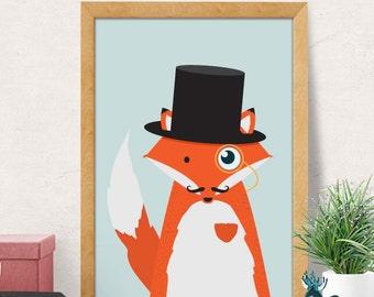 Fox print, Nursery wall art, Nursery decor, Nursery room wall decor, red fox print, Nursery wall decor, Baby room decor, Minimal fox