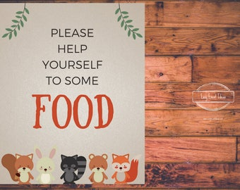 Woodland Creatures Baby Shower Grab Some Food  Sign | Printable | Instant Download