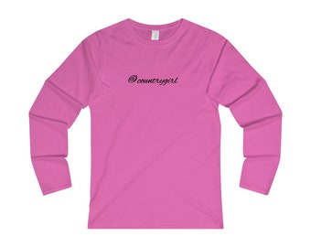 AT Country Girl - Womens Fitted Long Sleeve Tee - Black Font