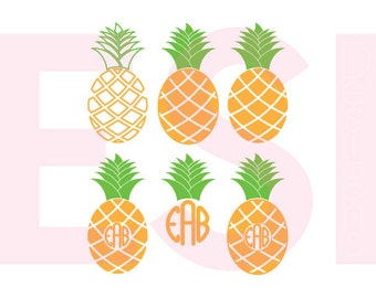 Pineapple monogram svg, Designs, SVG, DXF, EPS, Summer svg, Beach svg, cutting files, for use with Silhouette Cameo and Cricut Design Space.