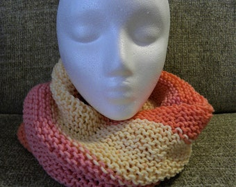 Coral, Pink, and Pale Peach Knit Cowl