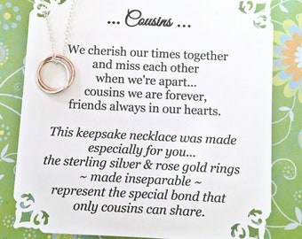 COUSINS Gift ROSE GOLD + Sterling Silver Gift for Cousins Connected Rings with Poem Jewelry for Cousin Gift for Cousin Poem Gift Wrapped