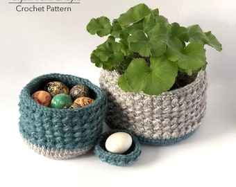 """Crochet Basket PATTERN / Storage Bin / Gift Basket / Made in Canada / """"Nubby Basket"""