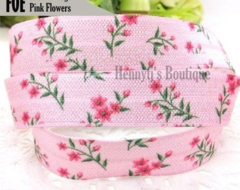 """5/8"""" FOE : Dusty Pink w/ pink Daisy Flower Floral Printed Patterned Fold Over Elastic Stretch Band 2, 5, 10 Yards. DIY Headband Supplies"""