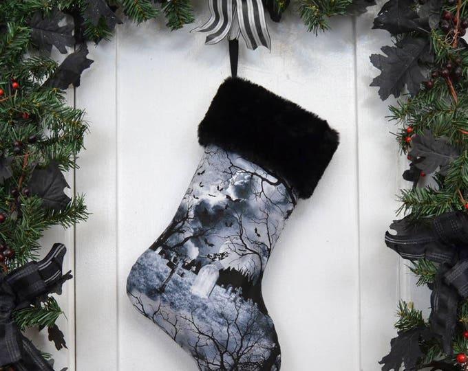 Gothic Graveyard Halloween Christmas Stocking, Black and White, Ravens Bats Tombstones, Spooky Trees, Black Faux Fur, Dark Christmas