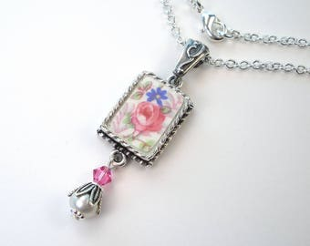 Broken China Jewelry Pink Rose & Forget Me Not Floral Necklace Vintage Charm Flower Pendant Handcrafted by Charmedware