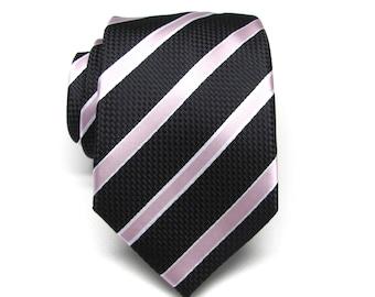 Mens Tie Black Pale Pink Stripes Necktie. Wedding Ties