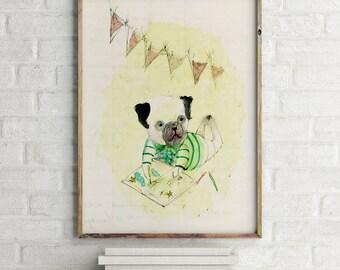 Eduardo IV, Nursery wall art boy, nursery animal print, nursery decor boy, kids room decor, nursery wall decor, dog wall art, dog wall decor