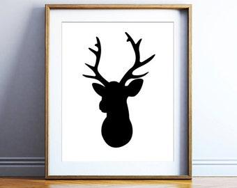 Deer head printable art - modern printable poster - black and white art print - instant deer print - printable wall decor - DIGITAL DOWNLOAD