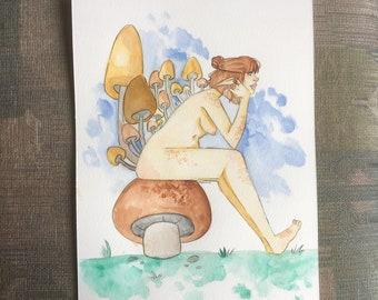 fairy mushroom watercolor