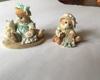 Two Vintage calico kittens-Sewing by Priscilla Hillman.