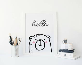 Monochrome Nursery Wall Decor, Hello Print, Kids Room Wall Art, Bear Nursery Decor, Bear Nursery Art, Scandinavian Nursery, Play Room Art