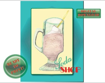 Soda Shop Printable Sign Retro Diner Rockabilly Frappe Wall Art Aqua Border Butter Yellow Background Red Green Font Whipped Cream Straw Mug