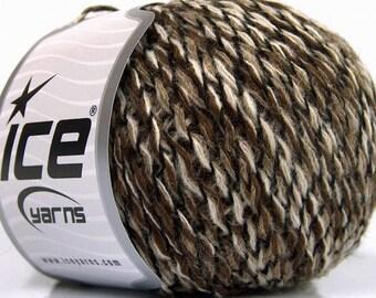 4 Skeins - Winter Yarn - Cream, Brown, and Black Shades