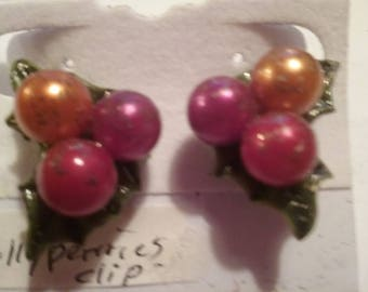 Beaded Christmas Clip-on Earrings