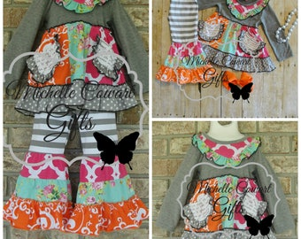 Boutique Outfit, Gray, Pink, Orange, Ruffle Pants, Spring, Summer, Girls Outfit, Toddler Outfit, 18M, 2T,  3T, 4T, 5, 6, 7, 8, Matilda Jane