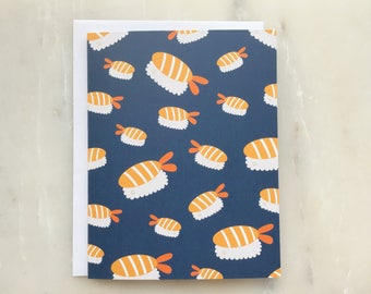 Ebi Sushi Notecard - Sushi Card, Ebi Card, Sashimi Card, Shrimp Card, Prawn Card, Food Card, Notecard