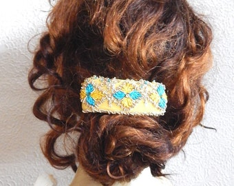 Yellow turquoise hair barrette,embroidered barrette, beaded barrette, sequinned barrette,fabric barrette, hair accessory, fashion accessory