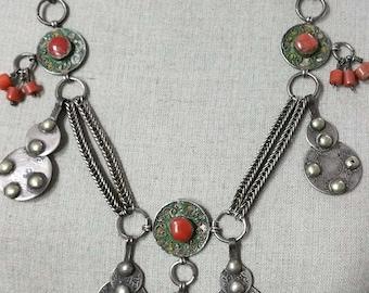 Vintage silver coral, amazonite and enamel pendant necklace Berber Morocco.