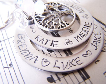 Holiday Gift Idea Modern Mommy XL Hand Stamped Double Washer Necklace, Family Tree Necklace, Sterling Silver Alternative