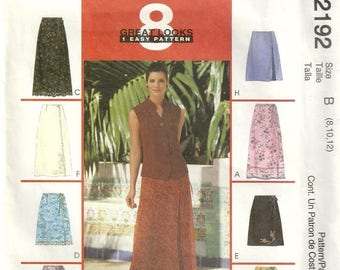 McCalls 2192 Misses Wrap Skirt 2 Lengths  8 Styles Sewing Pattern Size 8 - 10 - 12