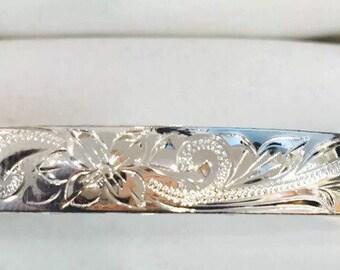 Silver plated rose gold coating hawaiian plumeria scroll cuff open bangle sz 8