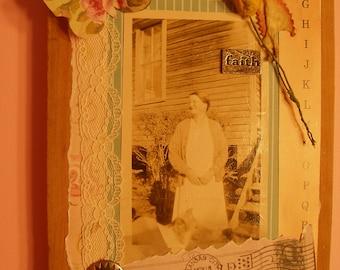 VINTAGE PHOTO HOME Decor Wood Black/White Altered Art