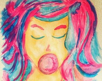 Watercolor Bubble Gum Beauty 11x14 print