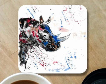 Rhino coaster, wooden coaster, rhino gift, table coaster, drink coaster, tile coaster, Christmas gift, coaster, rhino, home decor