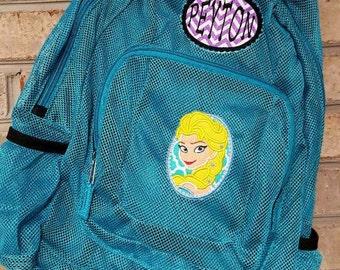 Monogrammed Backpack | Mesh Backpack | Back to School | Girls Backpack | Elsa Backpack | Book Bag | Frozen Backpack | School Bag | Backpack