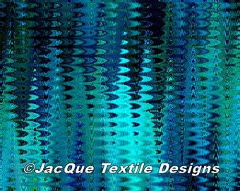 Artist Made Canvas Fabric Panel Abstract Brush Strokes Marble Blue Tones Fiber Art