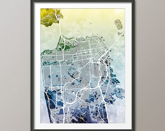 San Francisco Map, San Francisco California City Street Map, Art Print (1878)