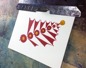 Celebrate! Holiday New Years Hand Printed blank customizable greeting card in red and gold