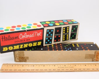 Vintage Dominoes in box; Halsam colored dot double six