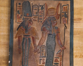 Isis and Hathor Ancient Egyptian Hand-engraved Painted Limestone