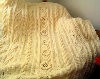 Floral Blanket,Original Textured Throw,Hand Knit,Hand Crochet,Twin Size Blanket,48x70 Throw by CarussDesignZ