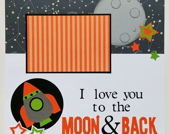 Scrapbook layout - Scrapbook pages - 12x12 premade scrapbook pages - Ohioscrapper - Premade scrapbook - Love you to the Moon - Scrapbook