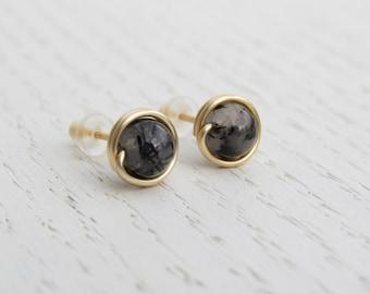 Rutilated quartz earrings, Rutilated quartz stud earrings