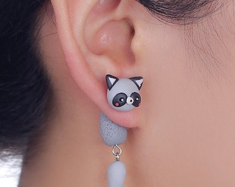 SALE!! - Raccoon Earrings Cute For Her Party Fun Gift Animal Wild Nature Polymer Clay Hand Made 3D Gray/Black