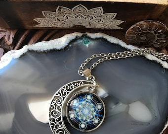 Silver Crescent Moon Necklace, Silver Necklace, Metatrons cube  Moon Necklace, Crescent Moon Pendent, Silver Necklace, Gifts for her,
