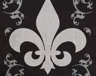 Louisiana - Flourish & Fleur de Lis - Black - Lantern Press Artwork (Art Print - Multiple Sizes Available)