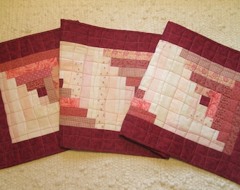 Quilted Spring Log Cabin Cottage Chic Farmhouse Table Runner
