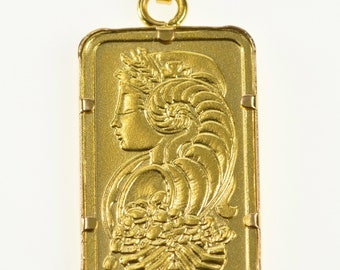18K Five Gram Ornate Pure Bar Investment Charm/Pendant Yellow Gold