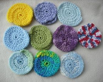 50 Assorted Random Mix Crochet Scrubbers-Crochet Face Scrubbers-Coasters-Free Shipping.